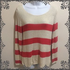 Olive & Oak Cream and Pink Stripe Sweater